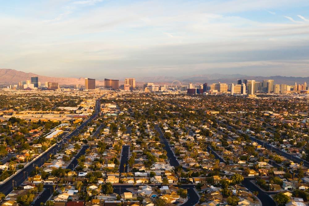 Aerial view of Las Vegas and surrounding suburban area