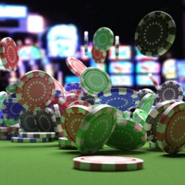 Illustration of chips landing on the table in a casino