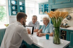 Couple meeting with a financial planner in their home