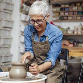 Woman enjoying pottery hobby
