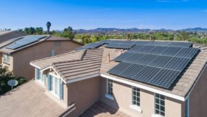 Solar panels on top of a home's roof