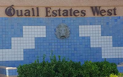 Quail Estates West Brick Entrance with lion head fountain