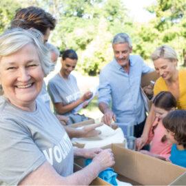 Family doing volunteer work