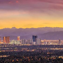 Image of Las Vegas and Nevada landscape at sunset